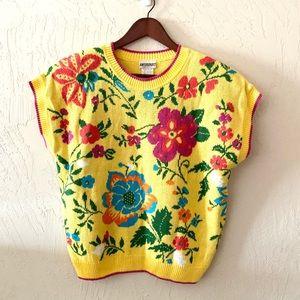 Knitmakers Vintage Flower Sweater Shortsleeved Lg